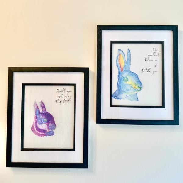 Giorra Gorm Iora Corcra Emma-Jane Leeson Watercolour animal framed prints